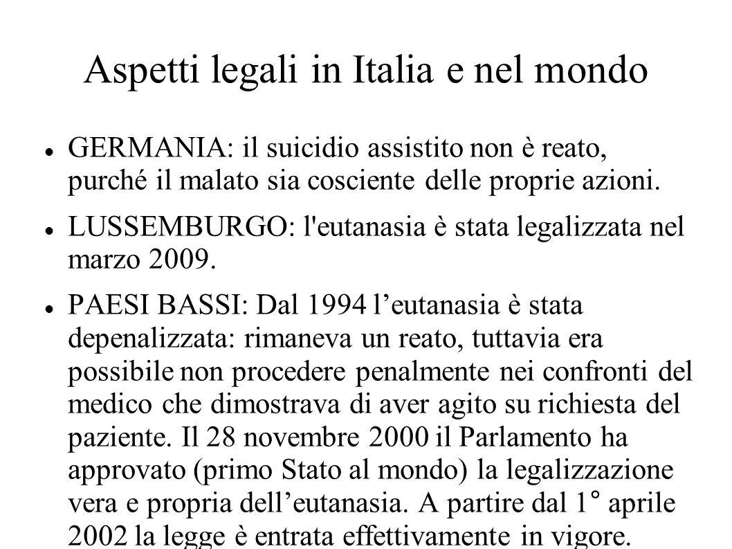 Aspetti legali in Italia e nel mondo GERMANIA: il suicidio assistito non è reato, purché il malato sia cosciente delle proprie azioni. LUSSEMBURGO: l'
