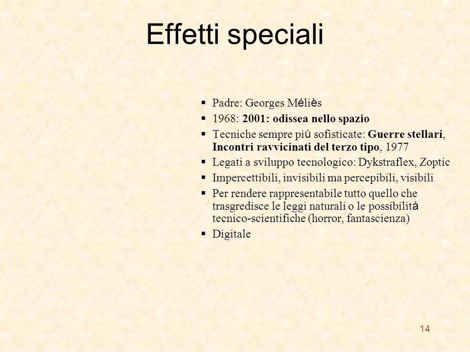Effetti speciali Padre: Georges M é li è s 1968: 2001: odissea nello spazio Tecniche sempre pi ù sofisticate: Guerre stellari, Incontri ravvicinati de