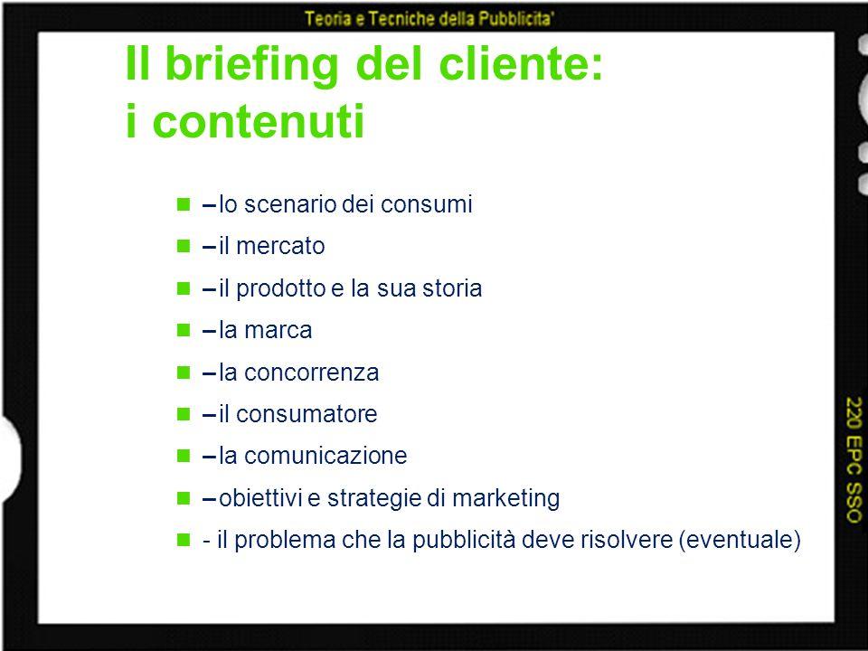 Il briefing del cliente: i contenuti –lo scenario dei consumi –il mercato –il prodotto e la sua storia –la marca –la concorrenza –il consumatore –la c