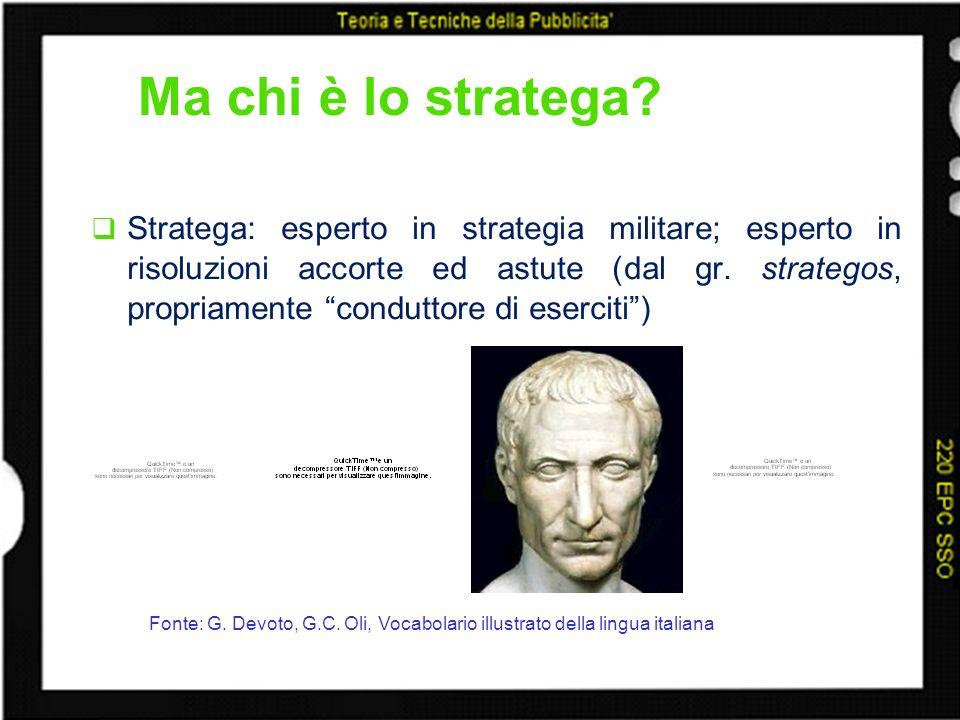 Ma chi è lo stratega? Stratega: esperto in strategia militare; esperto in risoluzioni accorte ed astute (dal gr. strategos, propriamente conduttore di