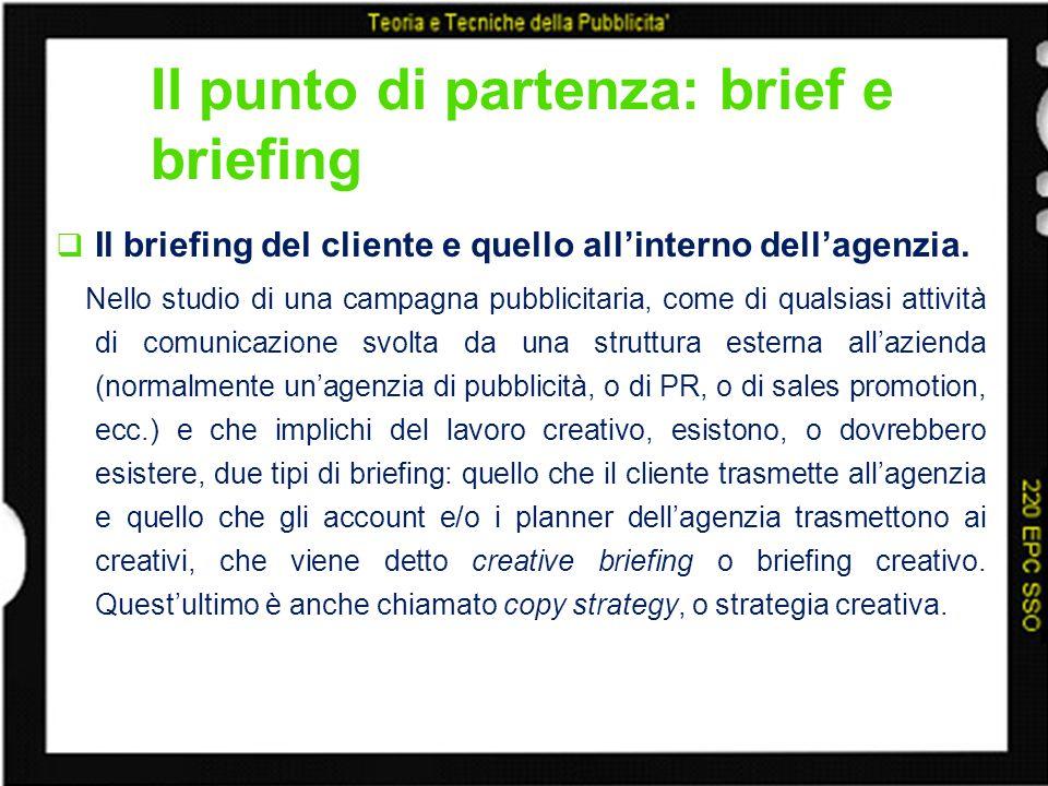 Il punto di partenza: brief e briefing Il briefing del cliente e quello allinterno dellagenzia. Nello studio di una campagna pubblicitaria, come di qu