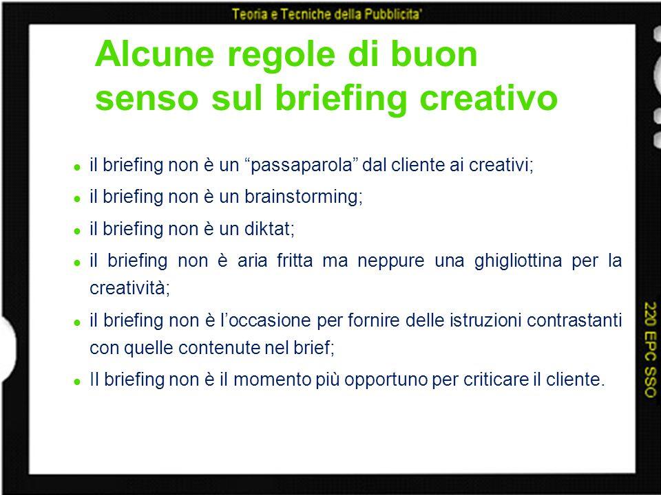 Alcune regole di buon senso sul briefing creativo il briefing non è un passaparola dal cliente ai creativi; il briefing non è un brainstorming; il bri