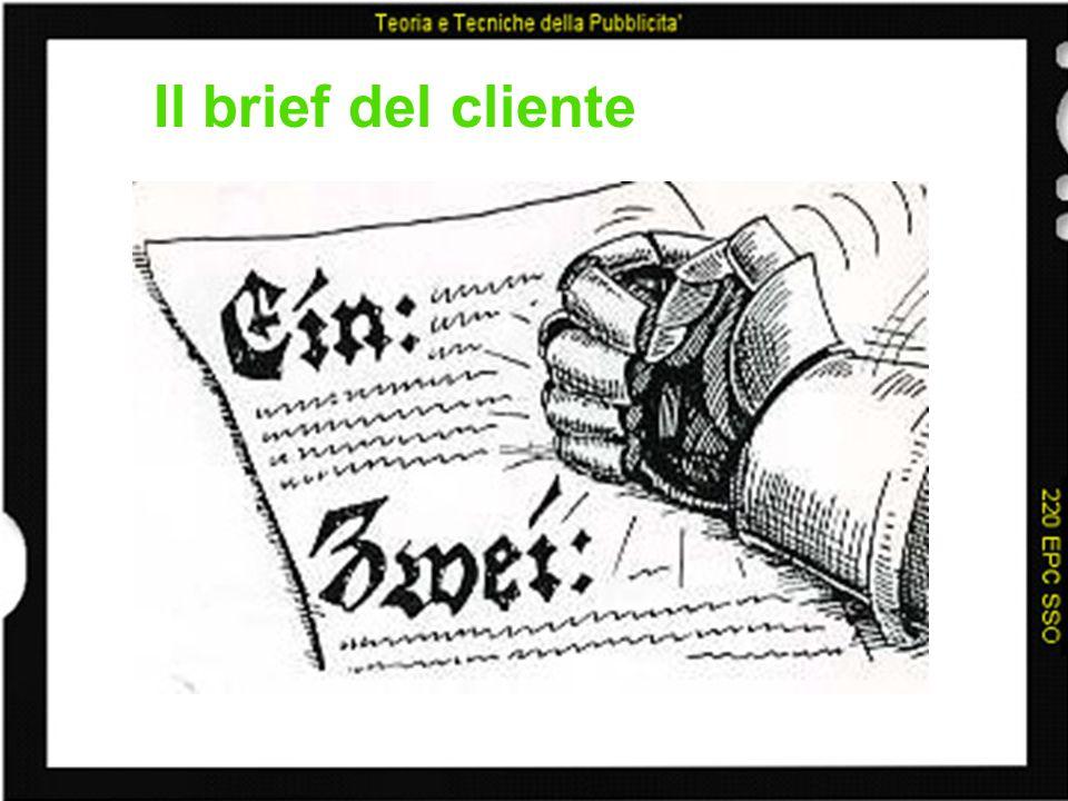 Il briefing del cliente: i contenuti –lo scenario dei consumi –il mercato –il prodotto e la sua storia –la marca –la concorrenza –il consumatore –la comunicazione –obiettivi e strategie di marketing - il problema che la pubblicità deve risolvere (eventuale)