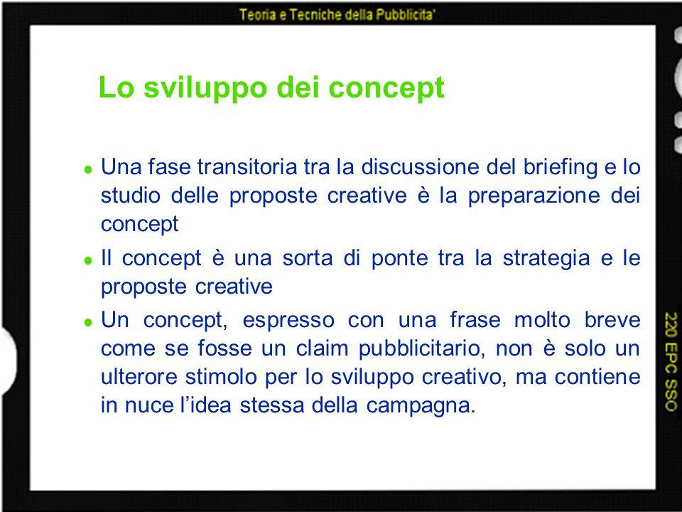 Lo sviluppo dei concept Una fase transitoria tra la discussione del briefing e lo studio delle proposte creative è la preparazione dei concept Il conc