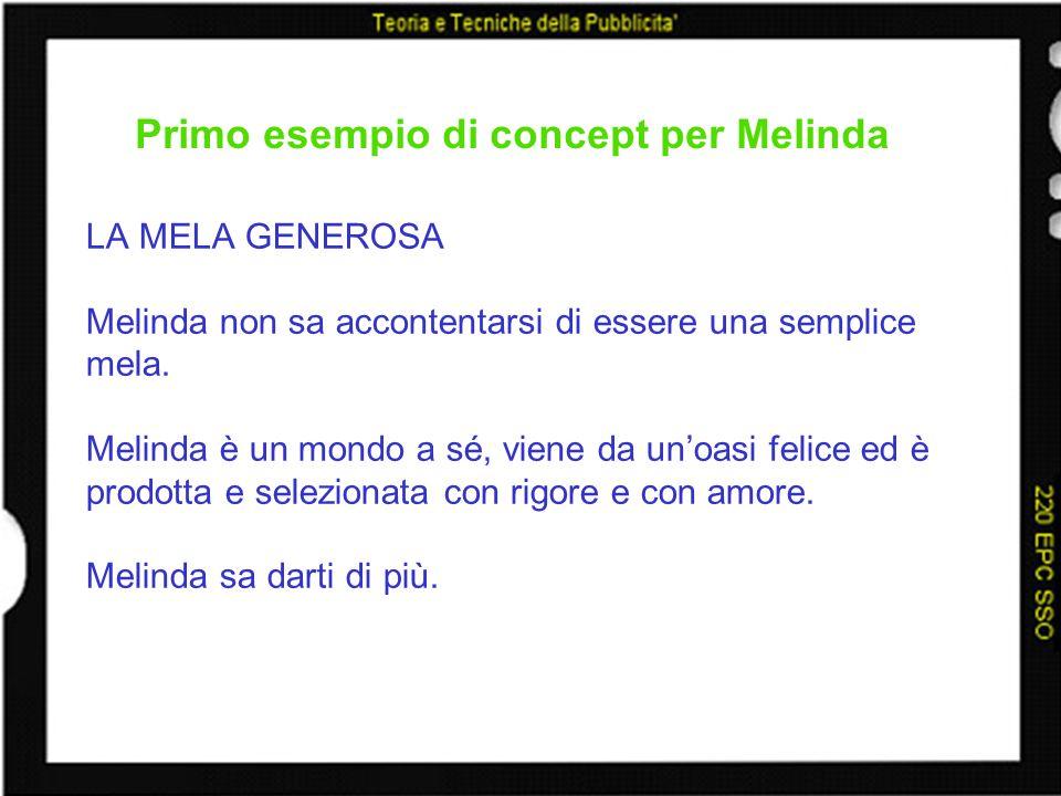 Primo esempio di concept per Melinda LA MELA GENEROSA Melinda non sa accontentarsi di essere una semplice mela. Melinda è un mondo a sé, viene da unoa