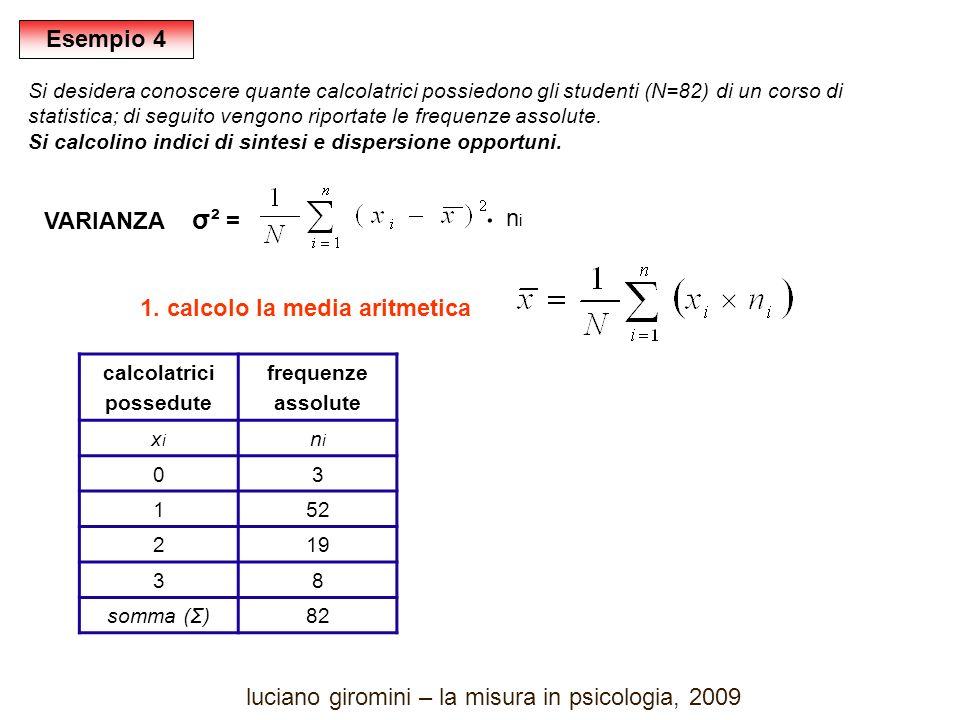 calcolatrici possedute frequenze assolute xixi nini 03 152 219 38 somma (Σ)82 VARIANZA σ² = 1.