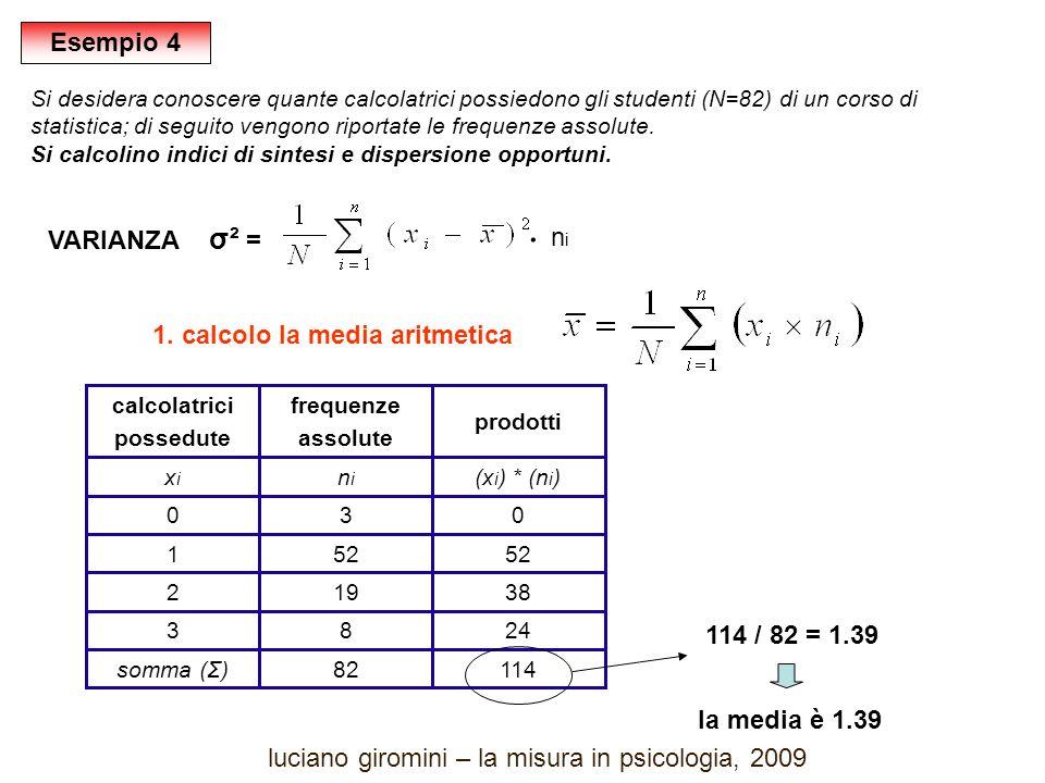 114 24 38 52 0 (x i ) * (n i ) prodotti 83 82somma (Σ) 192 521 30 nini xixi frequenze assolute calcolatrici possedute VARIANZA σ² = 1.