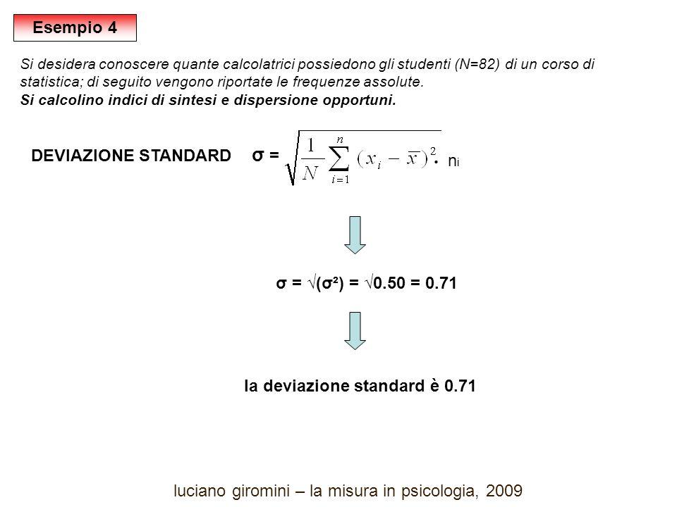 DEVIAZIONE STANDARD σ = σ = (σ²) = 0.50 = 0.71 la deviazione standard è 0.71 nini ּ Esempio 4 Si desidera conoscere quante calcolatrici possiedono gli studenti (N=82) di un corso di statistica; di seguito vengono riportate le frequenze assolute.
