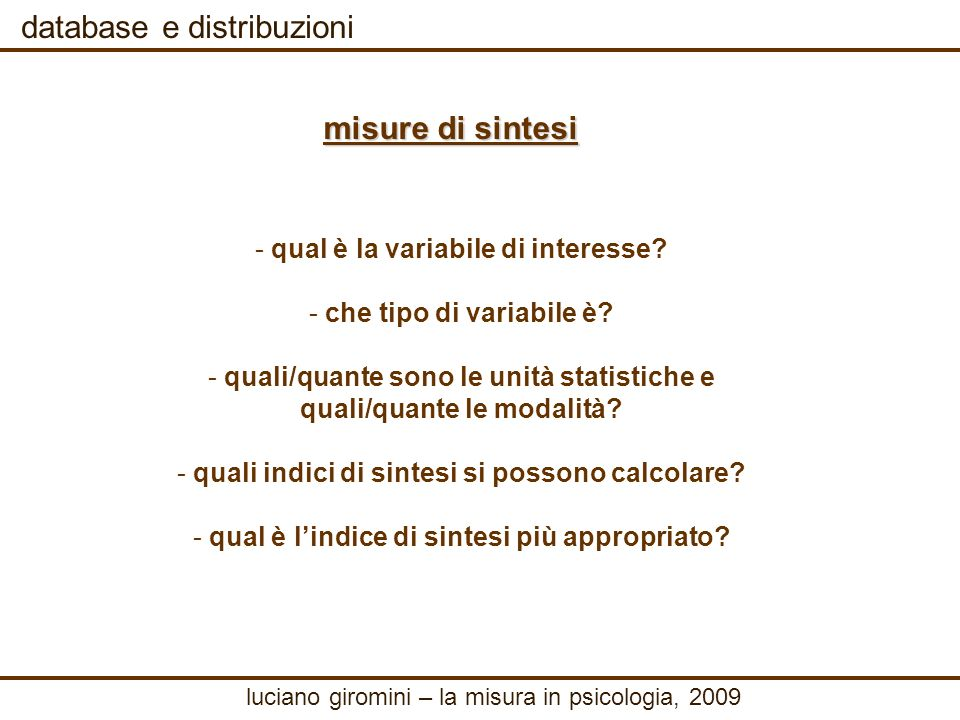 database e distribuzioni - - qual è la variabile di interesse.