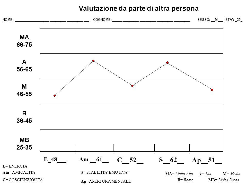 Valutazione da parte di altra persona Il soggetto dimostra una non particolarmente elevata carica di vitalità, ma tale da potergli permettere di intraprendere più attività anche se non con ritmi frenetici.