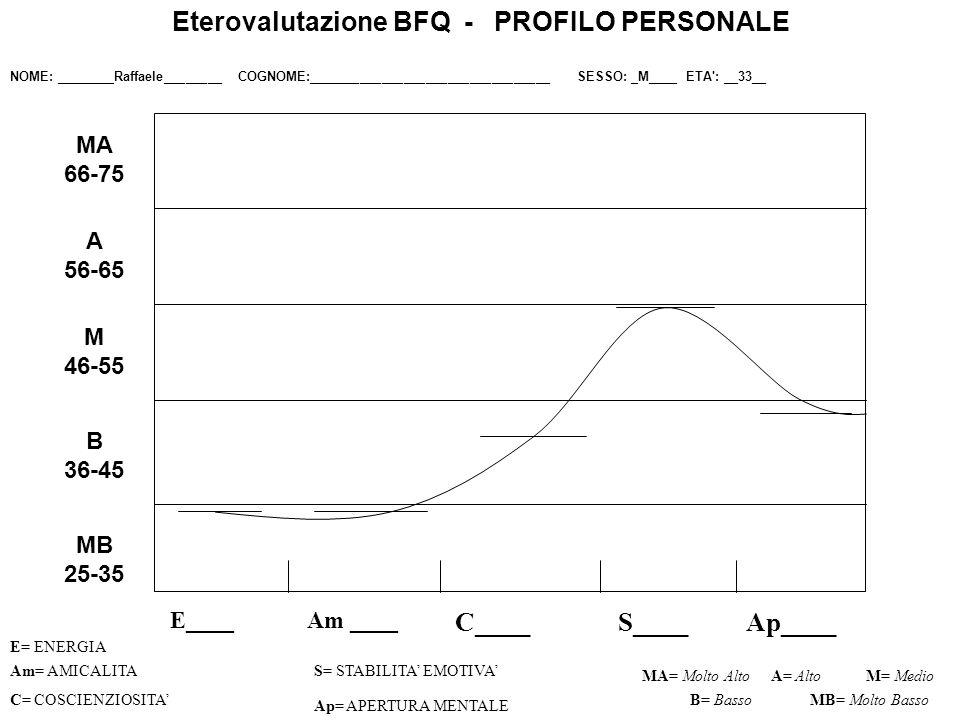 E____ C____S____Ap____ Am= AMICALITAS= STABILITA EMOTIVA C= COSCIENZIOSITA Ap= APERTURA MENTALE MA= Molto AltoM= Medio B= Basso Eterovalutazione BFQ - PROFILO PERSONALE NOME: ________Raffaele________ COGNOME:_________________________________ SESSO: _M____ ETA : __33__ A= Alto MB= Molto Basso MB 25-35 B 36-45 M 46-55 A 56-65 MA 66-75 Am ____ E= ENERGIA