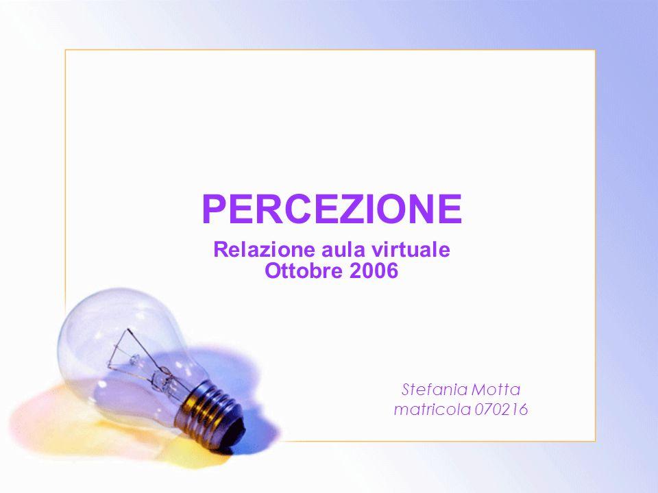 PERCEZIONE Relazione aula virtuale Ottobre 2006 Stefania Motta matricola 070216