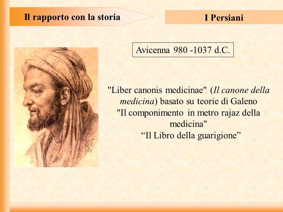 Il rapporto con la storia I Persiani Liber canonis medicinae (Il canone della medicina) basato su teorie di Galeno Il componimento in metro rajaz della medicina Il Libro della guarigione Avicenna 980 -1037 d.C.