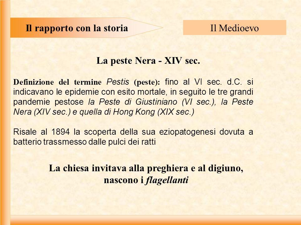 Il rapporto con la storia Il Medioevo La peste Nera - XIV sec.