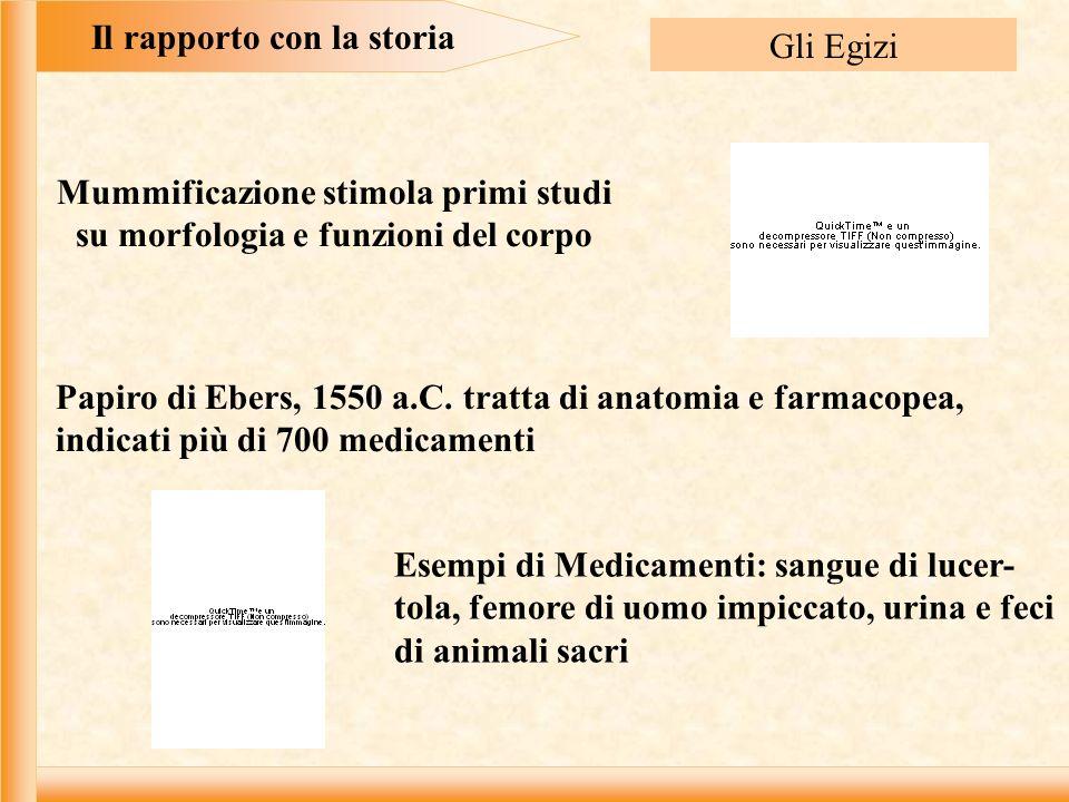 Il rapporto con la storia Gli Egizi Mummificazione stimola primi studi su morfologia e funzioni del corpo Papiro di Ebers, 1550 a.C.
