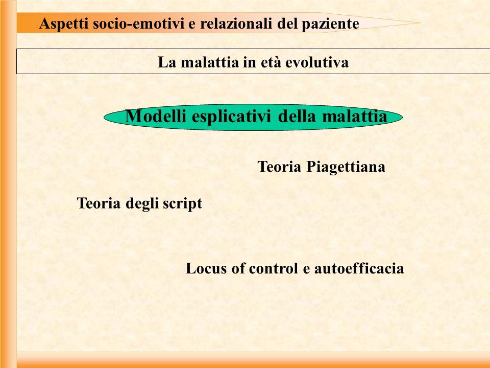 Aspetti socio-emotivi e relazionali del paziente La malattia in età evolutiva Modelli esplicativi della malattia Teoria Piagettiana Teoria degli script Locus of control e autoefficacia
