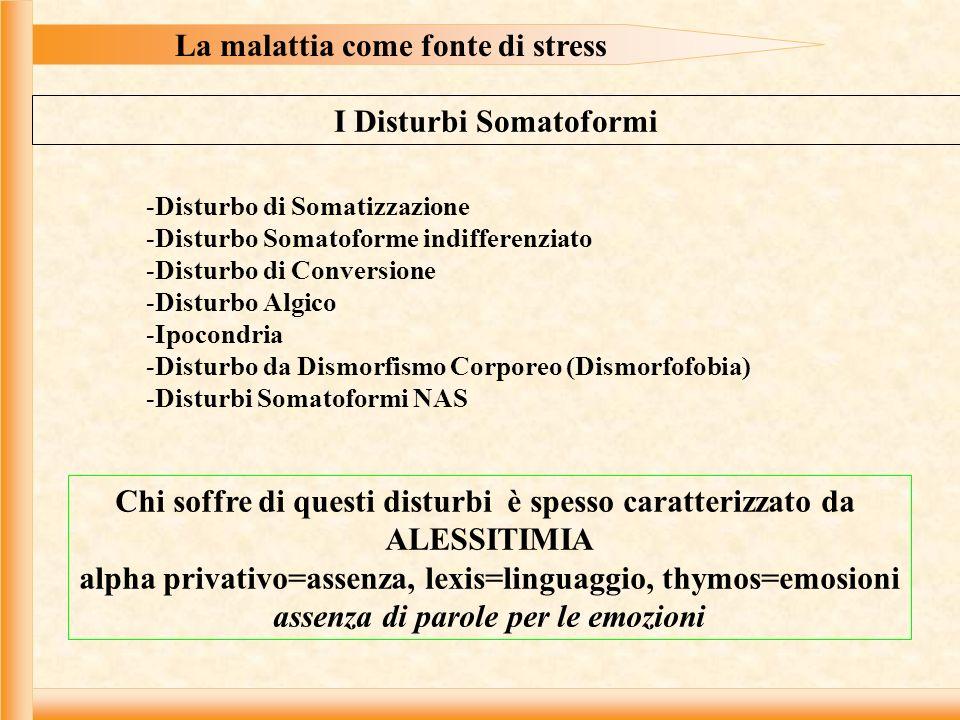 La malattia come fonte di stress I Disturbi Somatoformi -Disturbo di Somatizzazione -Disturbo Somatoforme indifferenziato -Disturbo di Conversione -Disturbo Algico -Ipocondria -Disturbo da Dismorfismo Corporeo (Dismorfofobia) -Disturbi Somatoformi NAS Chi soffre di questi disturbi è spesso caratterizzato da ALESSITIMIA alpha privativo=assenza, lexis=linguaggio, thymos=emosioni assenza di parole per le emozioni