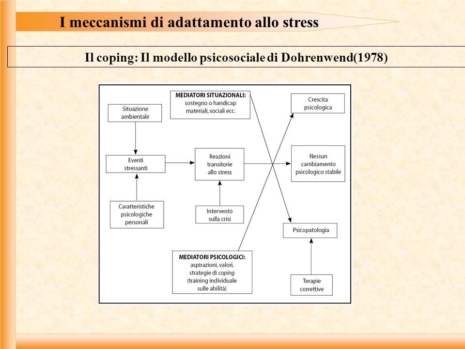 I meccanismi di adattamento allo stress Il coping: Il modello psicosociale di Dohrenwend(1978)