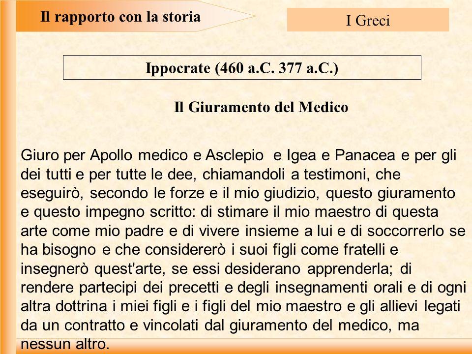 Il rapporto con la storia I Greci Ippocrate (460 a.C.