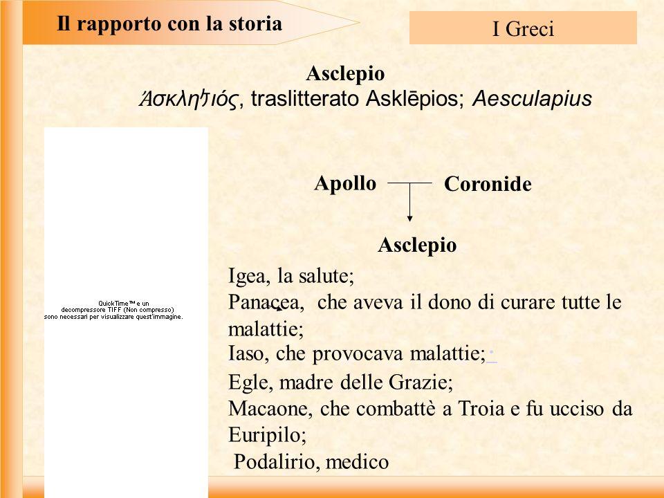 Il rapporto con la storia I Greci σκλη ιός, traslitterato Asklēpios; Aesculapius Asclepio Apollo Coronide Asclepio Igea, la salute; Panacea, che aveva il dono di curare tutte le malattie; Iaso, che provocava malattie; Egle, madre delle Grazie; Macaone, che combattè a Troia e fu ucciso da Euripilo; Podalirio, medico