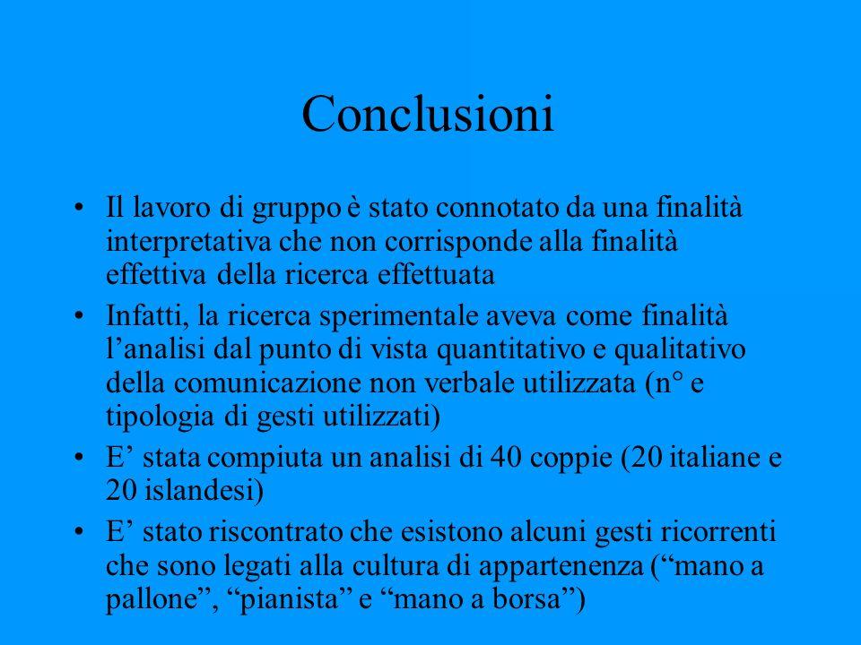 Conclusioni Il lavoro di gruppo è stato connotato da una finalità interpretativa che non corrisponde alla finalità effettiva della ricerca effettuata