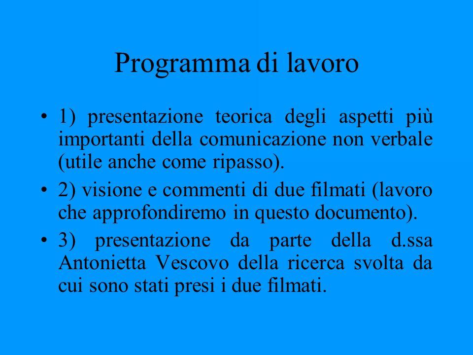 Programma di lavoro 1) presentazione teorica degli aspetti più importanti della comunicazione non verbale (utile anche come ripasso).