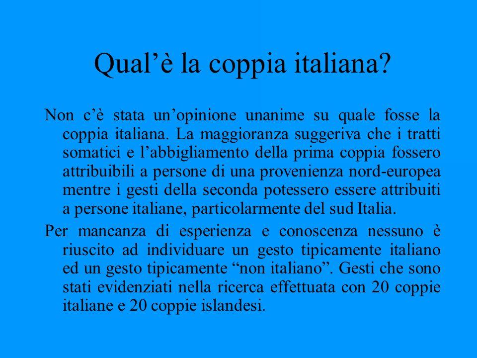 Qualè la coppia italiana? Non cè stata unopinione unanime su quale fosse la coppia italiana. La maggioranza suggeriva che i tratti somatici e labbigli