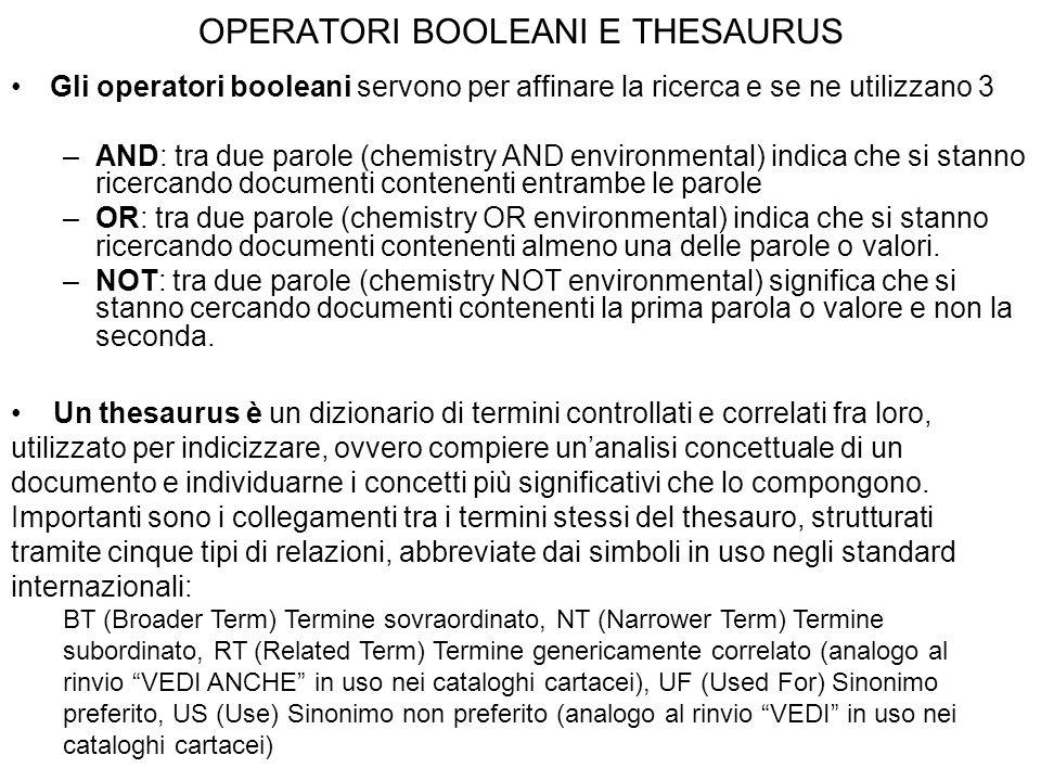 OPERATORI BOOLEANI E THESAURUS Gli operatori booleani servono per affinare la ricerca e se ne utilizzano 3 –AND: tra due parole (chemistry AND environ
