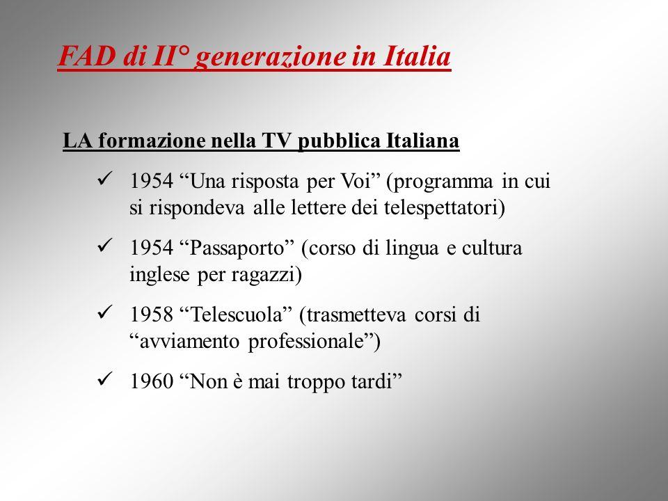 LA formazione nella TV pubblica Italiana 1954 Una risposta per Voi (programma in cui si rispondeva alle lettere dei telespettatori) 1954 Passaporto (c