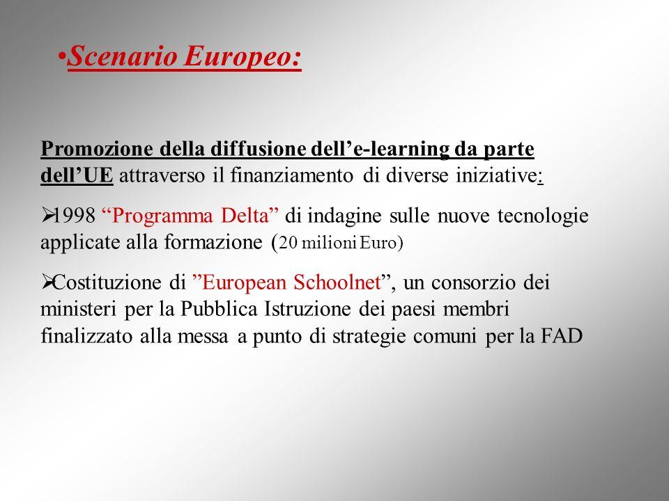 Promozione della diffusione delle-learning da parte dellUE attraverso il finanziamento di diverse iniziative: 1998 Programma Delta di indagine sulle n