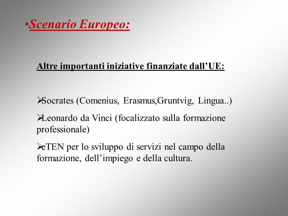 Altre importanti iniziative finanziate dallUE: Socrates (Comenius, Erasmus,Gruntvig, Lingua..) Leonardo da Vinci (focalizzato sulla formazione profess