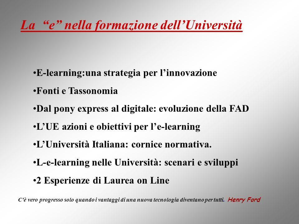 La e nella formazione dellUniversità E-learning:una strategia per linnovazione Fonti e Tassonomia Dal pony express al digitale: evoluzione della FAD L
