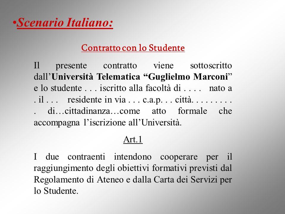 Contratto con lo Studente Il presente contratto viene sottoscritto dallUniversità Telematica Guglielmo Marconi e lo studente... iscritto alla facoltà