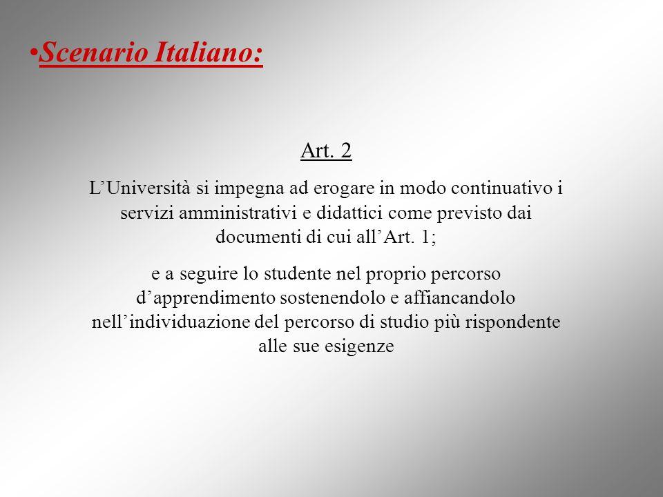 Art. 2 LUniversità si impegna ad erogare in modo continuativo i servizi amministrativi e didattici come previsto dai documenti di cui allArt. 1; e a s