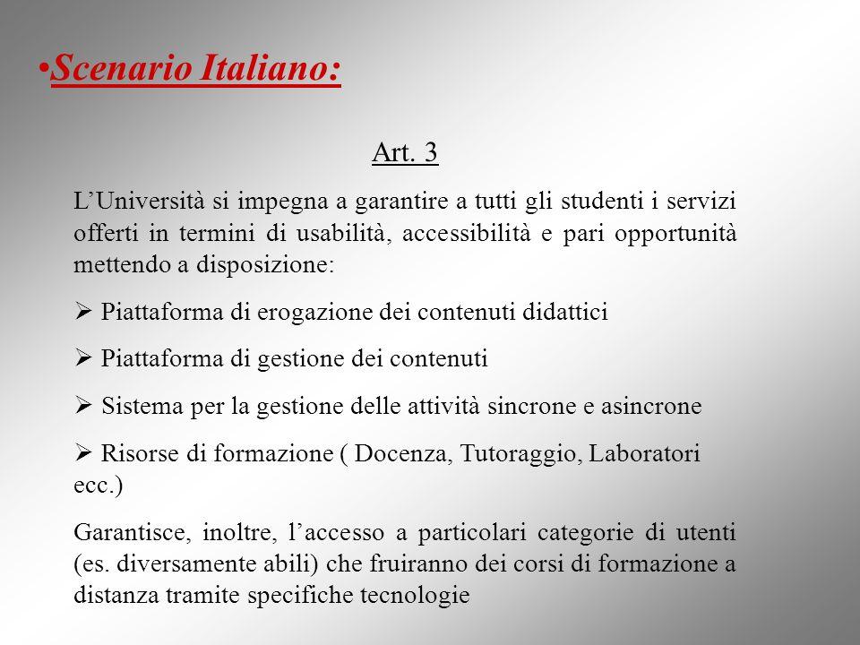 Art. 3 LUniversità si impegna a garantire a tutti gli studenti i servizi offerti in termini di usabilità, accessibilità e pari opportunità mettendo a