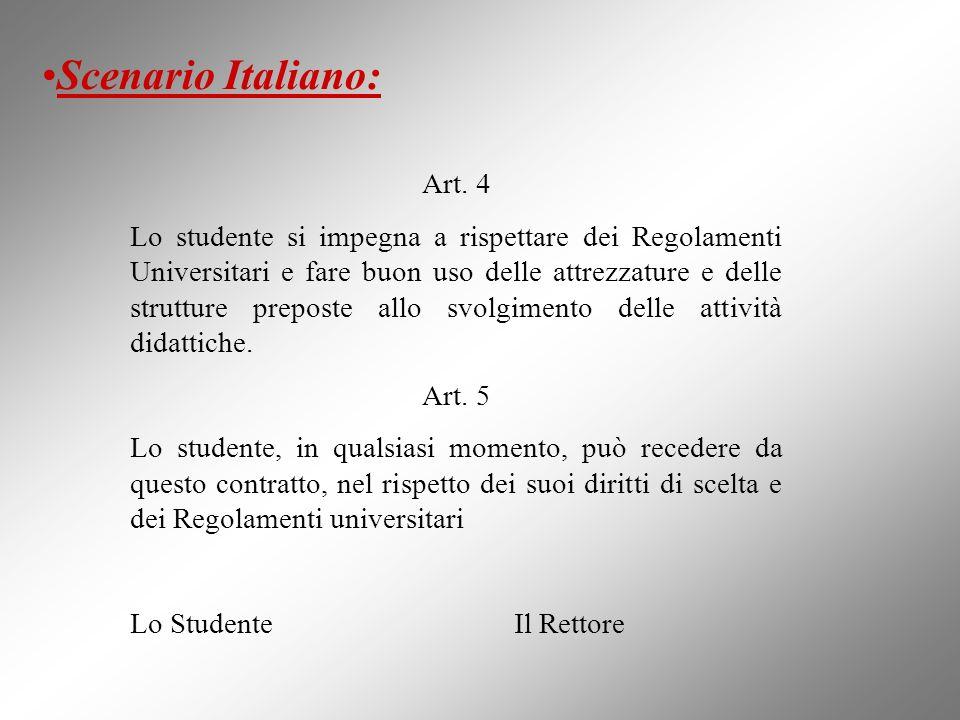 Art. 4 Lo studente si impegna a rispettare dei Regolamenti Universitari e fare buon uso delle attrezzature e delle strutture preposte allo svolgimento