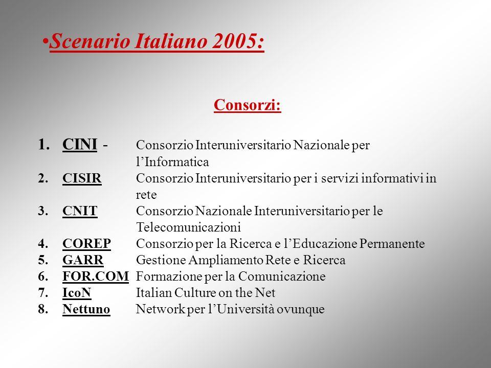 Consorzi: 1.CINI - Consorzio Interuniversitario Nazionale per lInformatica 2.CISIR Consorzio Interuniversitario per i servizi informativi in rete 3.CN