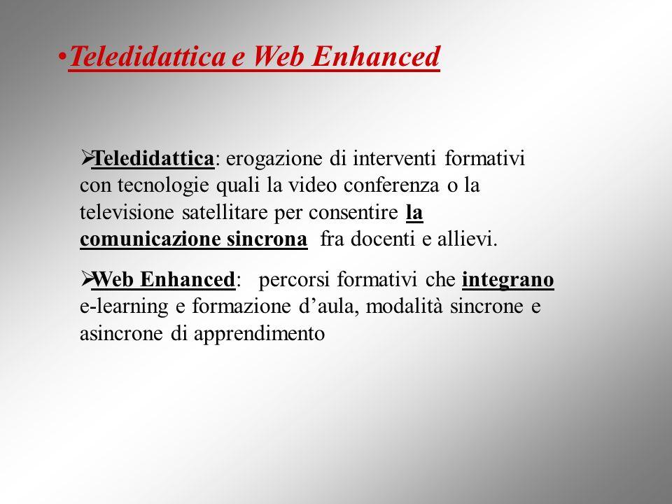 Teledidattica e Web Enhanced Teledidattica: erogazione di interventi formativi con tecnologie quali la video conferenza o la televisione satellitare p