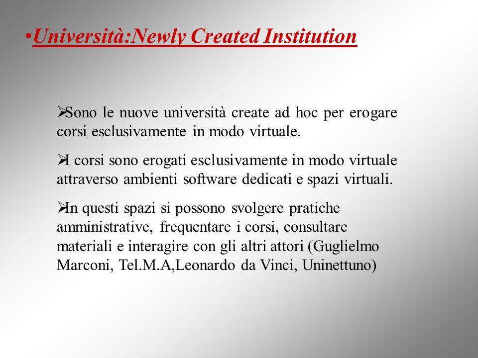 Università:Newly Created Institution Sono le nuove università create ad hoc per erogare corsi esclusivamente in modo virtuale. I corsi sono erogati es