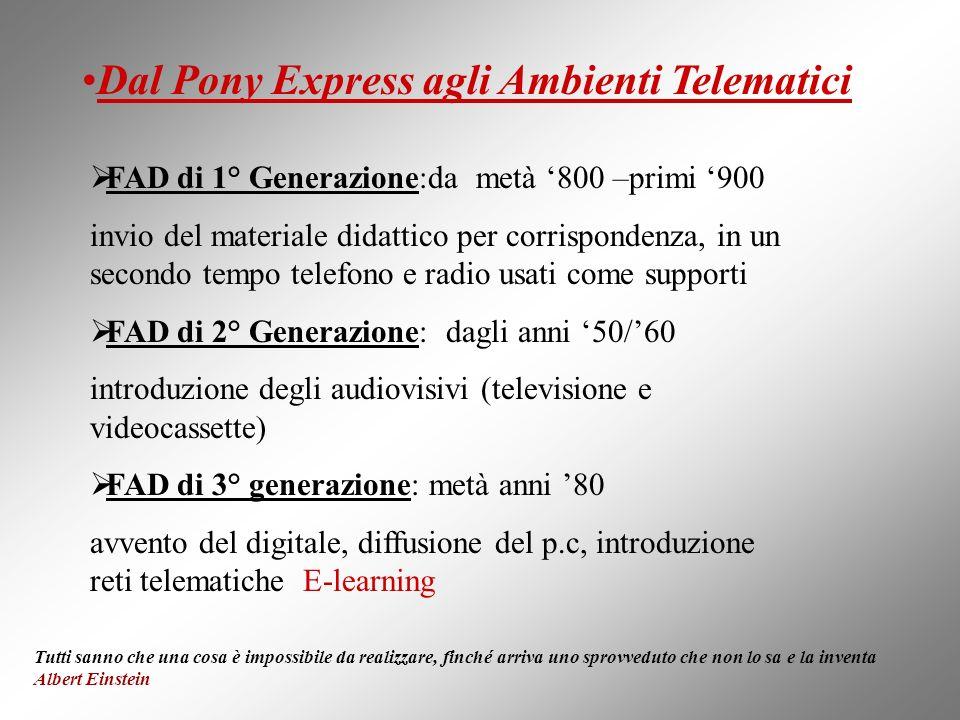 FAD di 1° Generazione:da metà 800 –primi 900 invio del materiale didattico per corrispondenza, in un secondo tempo telefono e radio usati come support