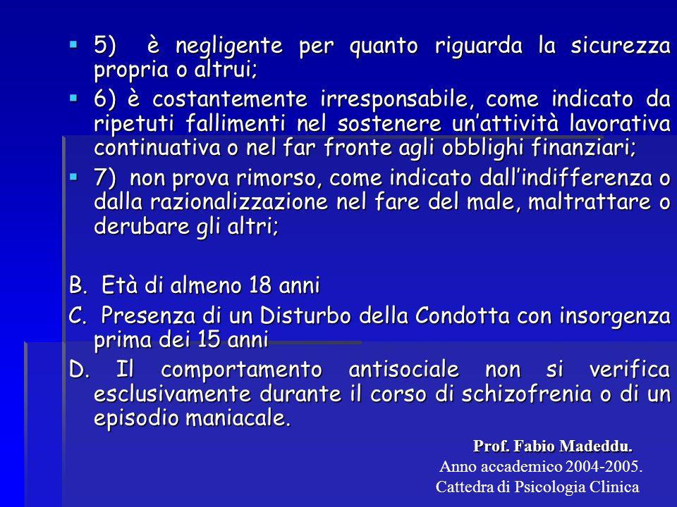 Criteri Diagnostici DSM IV per Disturbo della Condotta A.