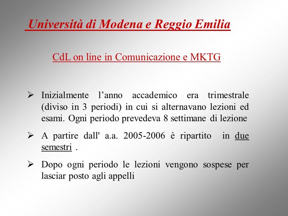 CdL on line in Comunicazione e MKTG : Inizialmente lanno accademico era trimestrale (diviso in 3 periodi) in cui si alternavano lezioni ed esami. Ogni