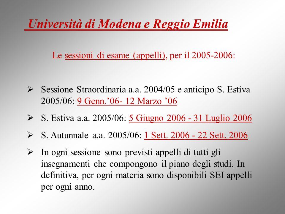 Le sessioni di esame (appelli), per il 2005-2006: Sessione Straordinaria a.a. 2004/05 e anticipo S. Estiva 2005/06: 9 Genn.06- 12 Marzo 06 S. Estiva a