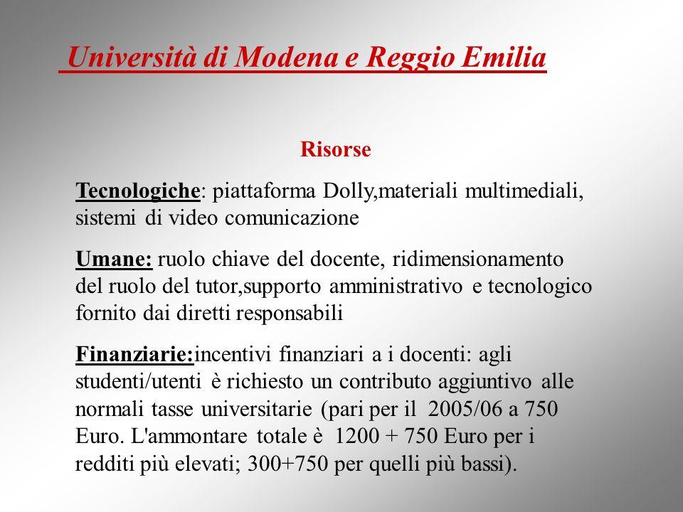Risorse Tecnologiche: piattaforma Dolly,materiali multimediali, sistemi di video comunicazione Umane: ruolo chiave del docente, ridimensionamento del