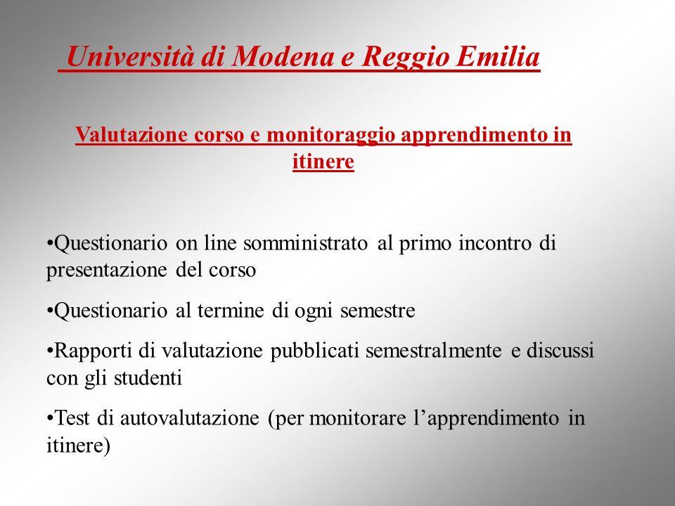 Università di Modena e Reggio Emilia Valutazione corso e monitoraggio apprendimento in itinere Questionario on line somministrato al primo incontro di