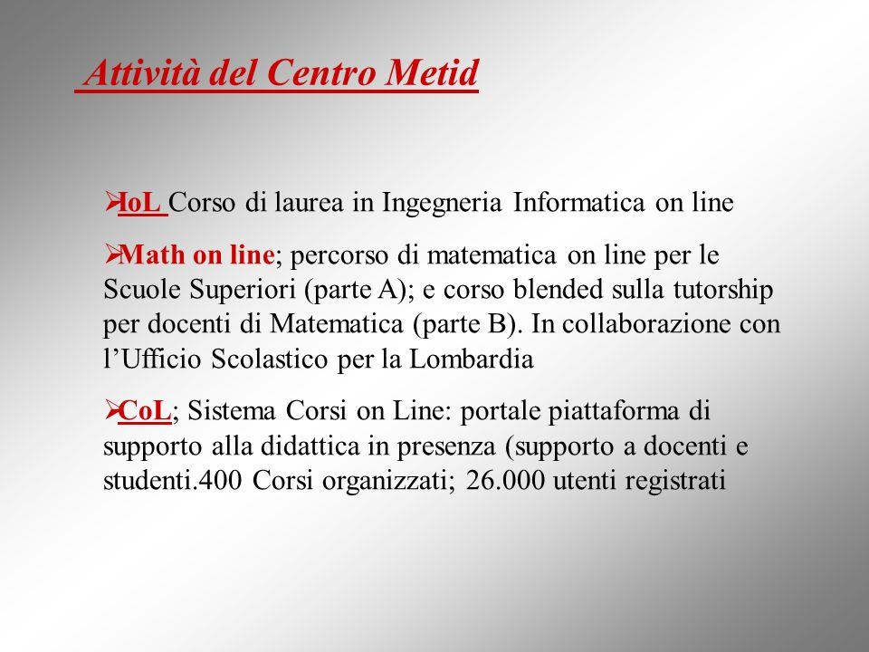 Attività del Centro Metid IoL Corso di laurea in Ingegneria Informatica on line Math on line; percorso di matematica on line per le Scuole Superiori (