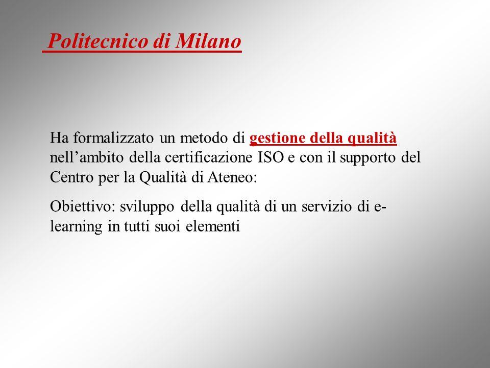 Politecnico di Milano Ha formalizzato un metodo di gestione della qualità nellambito della certificazione ISO e con il supporto del Centro per la Qualità di Ateneo: Obiettivo: sviluppo della qualità di un servizio di e- learning in tutti suoi elementi