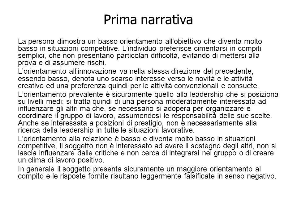 Prima narrativa La persona dimostra un basso orientamento allobiettivo che diventa molto basso in situazioni competitive. Lindividuo preferisce ciment