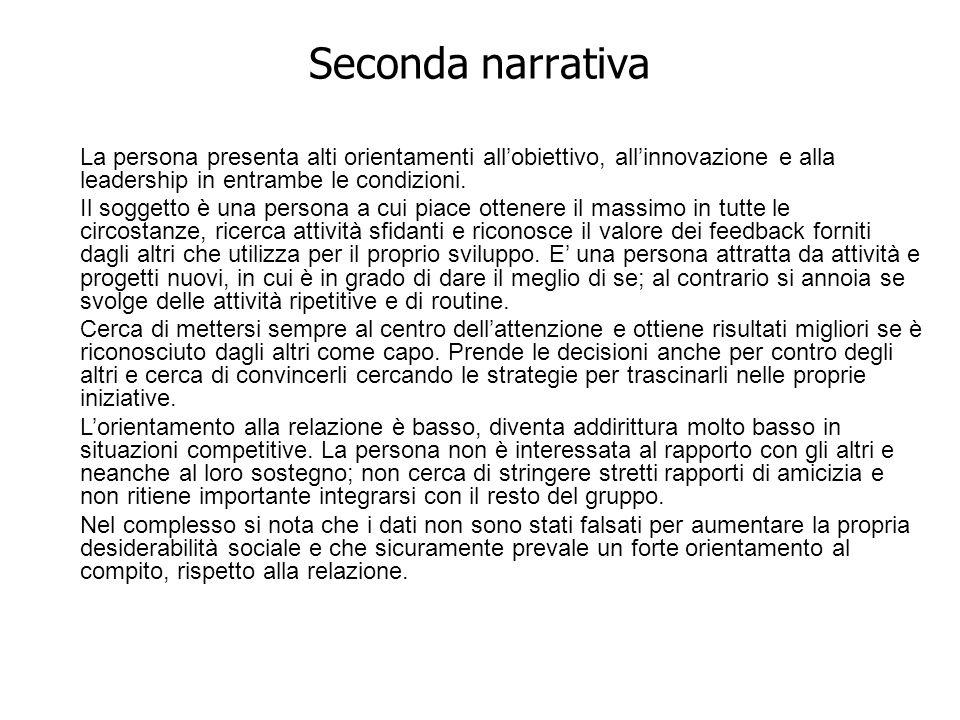 Seconda narrativa La persona presenta alti orientamenti allobiettivo, allinnovazione e alla leadership in entrambe le condizioni. Il soggetto è una pe