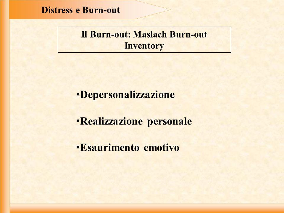 Distress e Burn-out Il Burn-out: Maslach Burn-out Inventory Depersonalizzazione Realizzazione personale Esaurimento emotivo